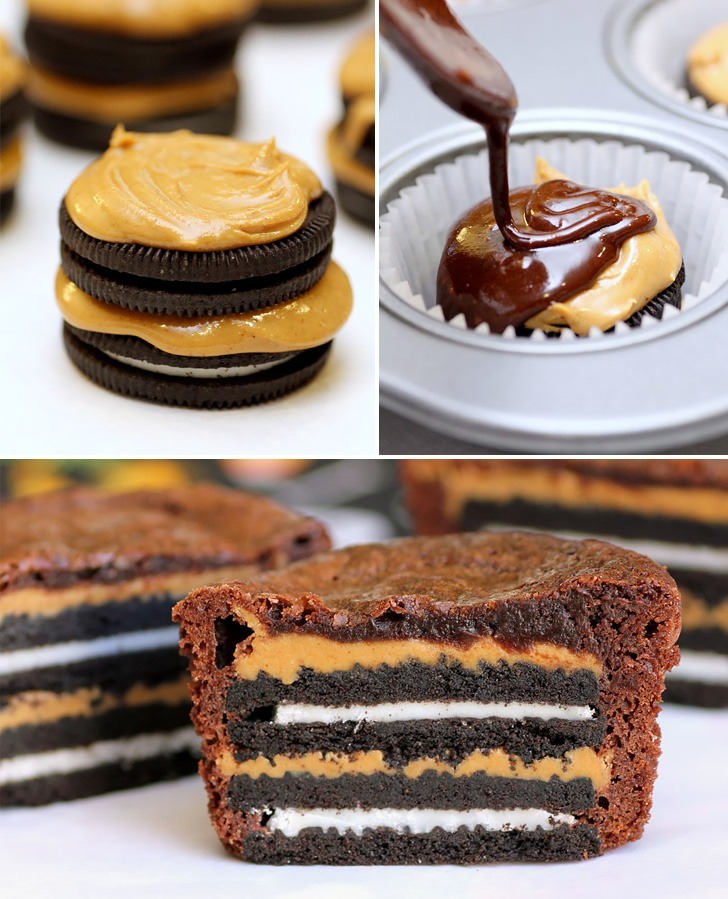 Simply take an Oreo, smother with peanut butter, then pour your brownie mix over it. For even yummier brownies, add 2 Oreos. Bake as directed on the box. Enjoy!