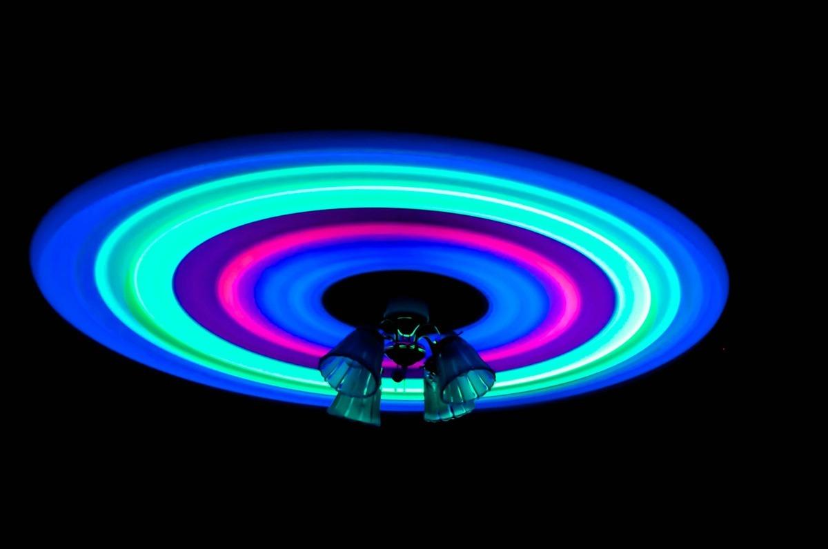 Type glow sticks to a fan