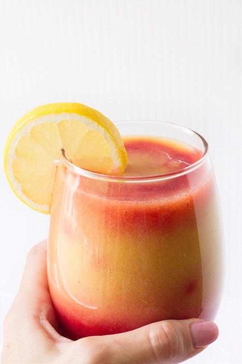 This Sunrise Detox Smoothie is so refreshing.Perfect for giving you a little natural boost ofEnergy before youGet your day started.The tropical flavorsOf banana,mango and pineapple taste delicious with raspberries.It has all the flavors of a bright sunny day at the beach.Is it time for vacation yet?