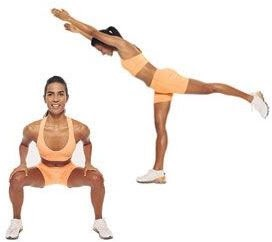 squat with kickback : 50 rest for 15 seconds and then other 50