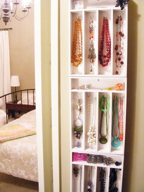 Use cutlery trays and command hooks to organize your jewerly.