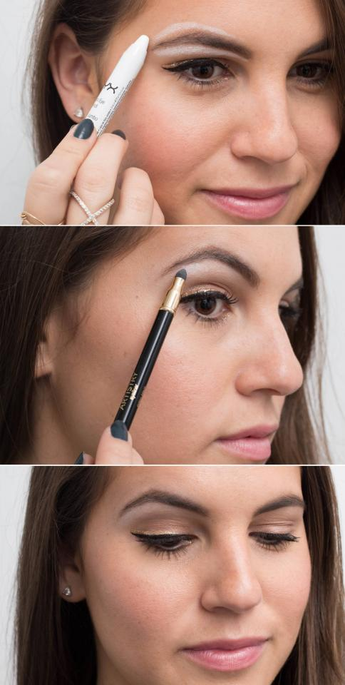 6. Use white eyeliner as a brow highlighter for an instant eye lift. Line below and above your eyebrows with a thick white liner, and smudge it out with a sponge brush to define your brows.