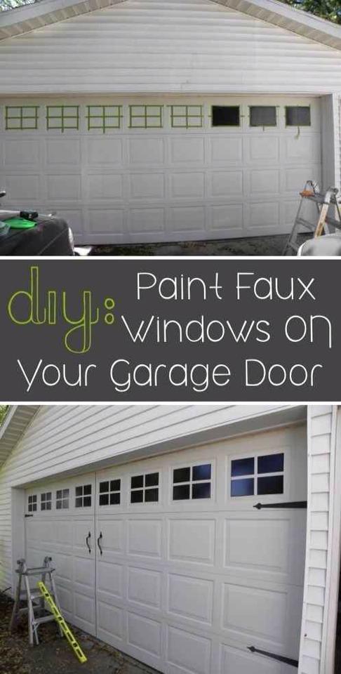 12. Paint faux windows on your garage door.