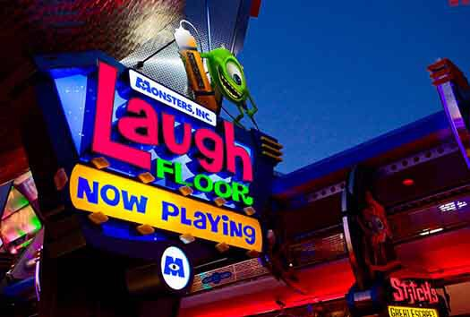 Monsters Inc. Laugh Floor Come see the comedy show performed by the characters of Monsters Inc. and Monsters  University.  Height: Any FP+: Yes