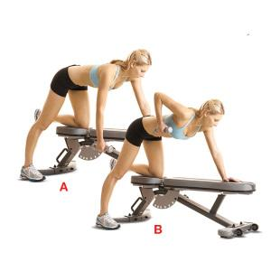 Hammer Grip Row  Target: back muscles Reps: 1 min; slowly and controlled Tips: You can perform this while standing, on a bench or lying on an exercise ball  >Start: arm straight out >Row by pulling weight up to your ribs >Squeeze shoulder blades as hard as you can and actively open the chest