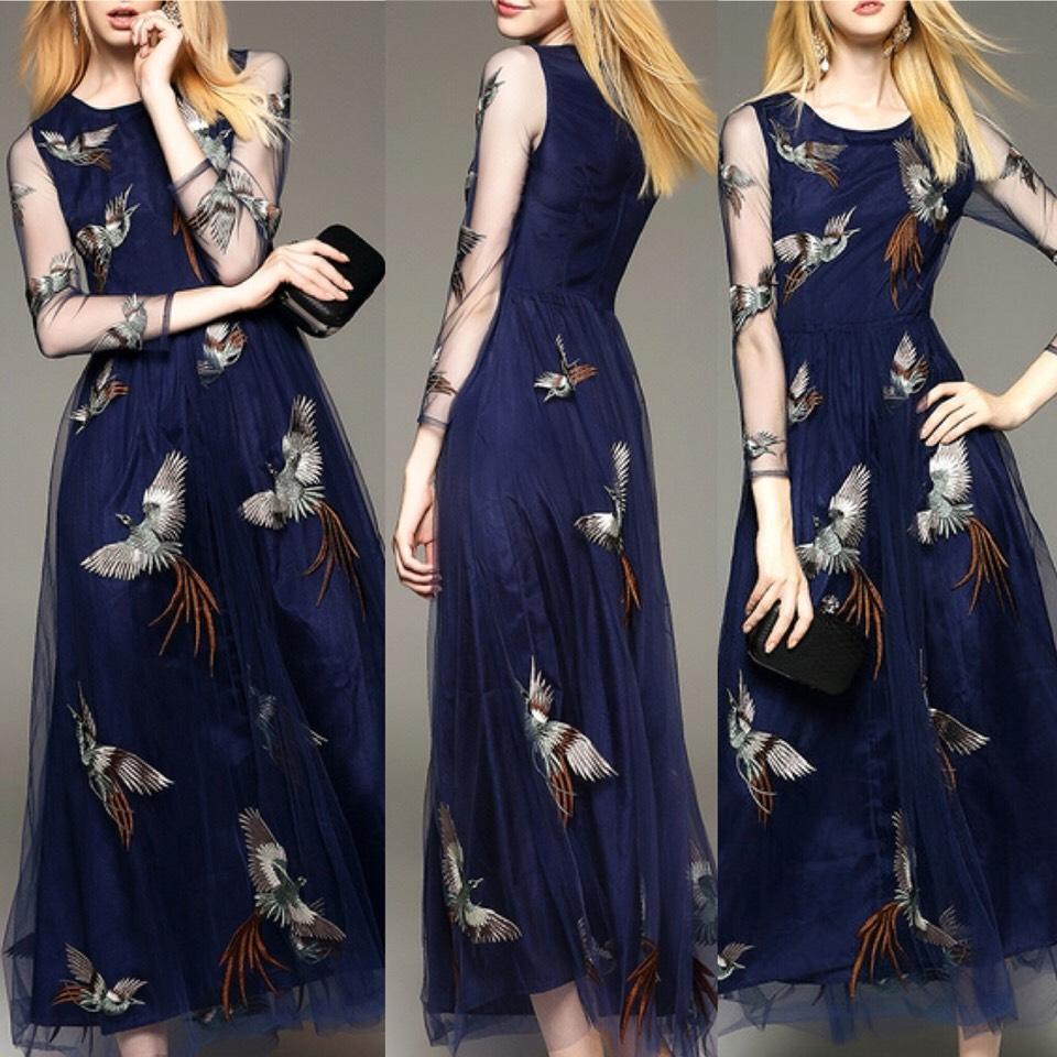 $61.09 http://m.romwe.com/Navy-Bird-Embroidered-Gauze-Midi-Dress-p-146943-cat-724.html