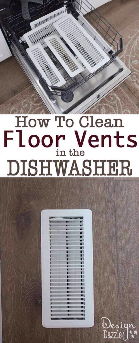 27.Detach all of your floor and ceiling air vents, and run them through the dishwasher. This will work for the vent cover for your bathroom fan, too; just make sure not to run the heat dry cycle if any of the vents are plastic. Read more about how to make this work wellhere.