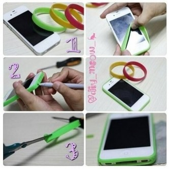 Use a rubber bracelet with appropriate cuts made to it as a colorful iPhone bumper!