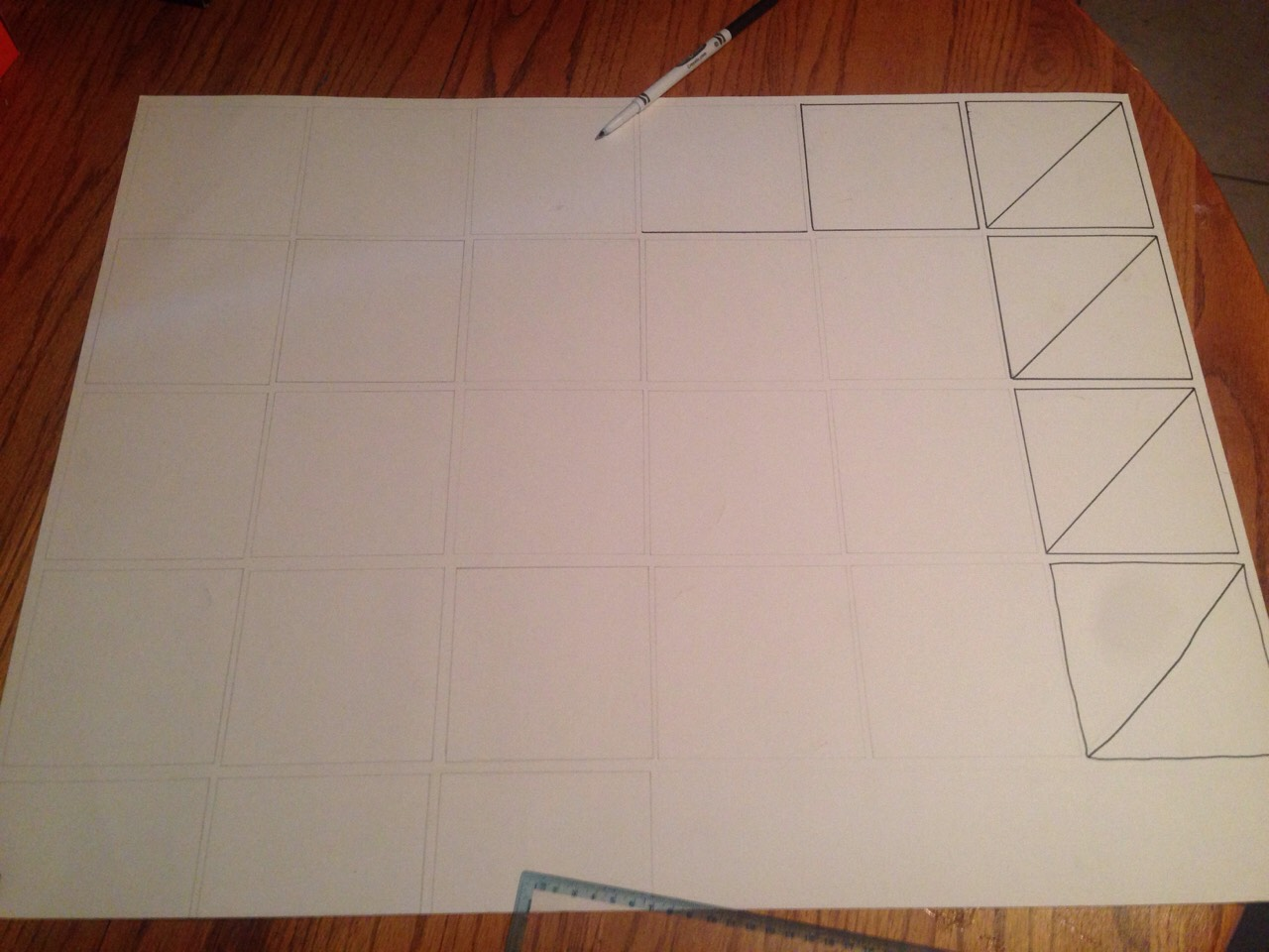 Make your squares 6 by 5 then trace it with a marker