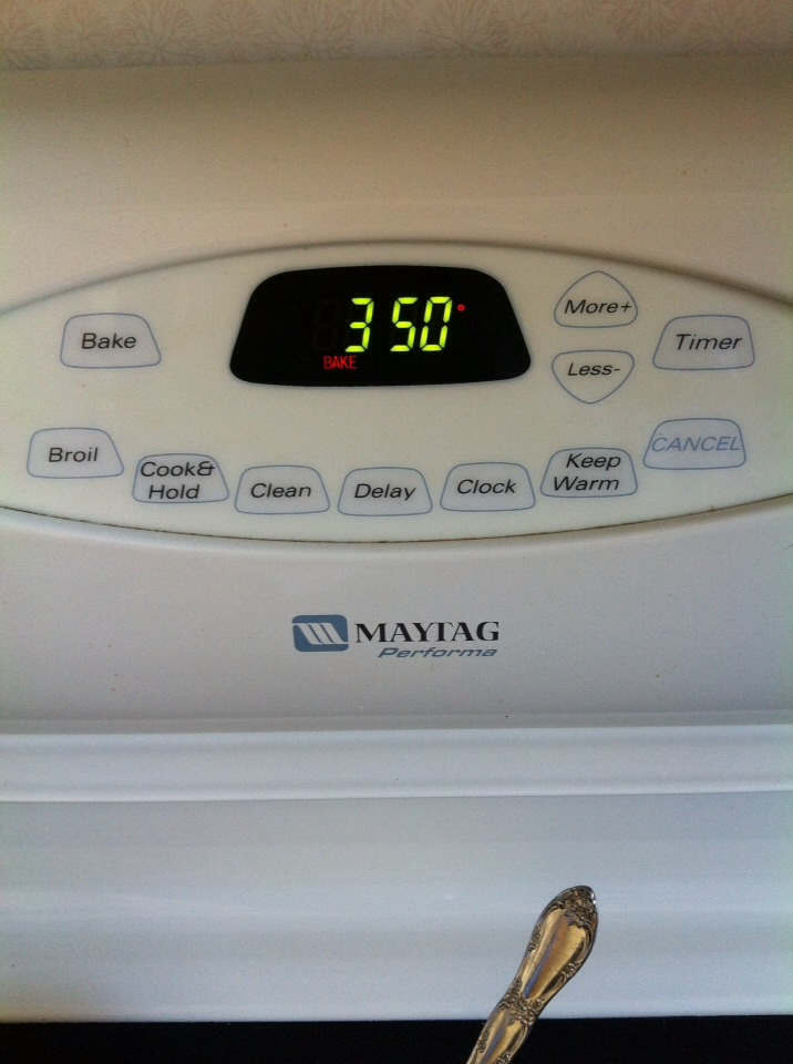 2. Preheat oven at 350 Degrees Fahrenheit.