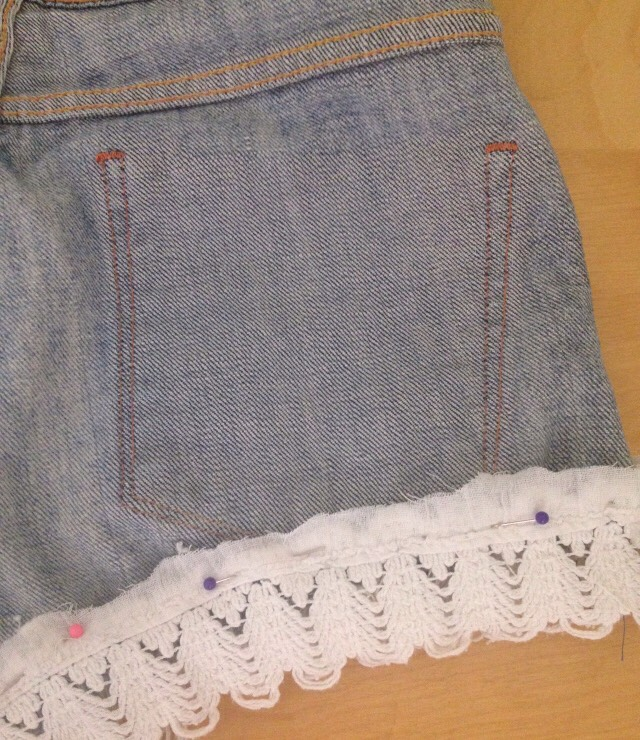 Remember to turn shorts inside out when sewing on the lace.