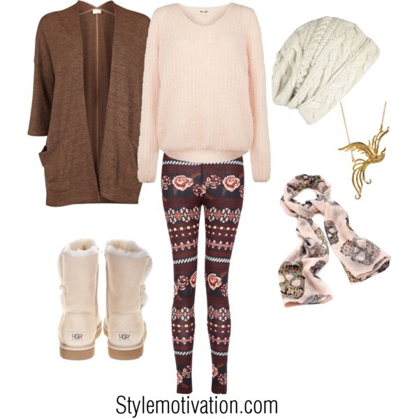 This outfit is cute and cozy all you need is a pearl sweter or any color of your choice and you need tights with cute designs and any jackt and a benny and a scarf and to top of this outfit just add cozy boots