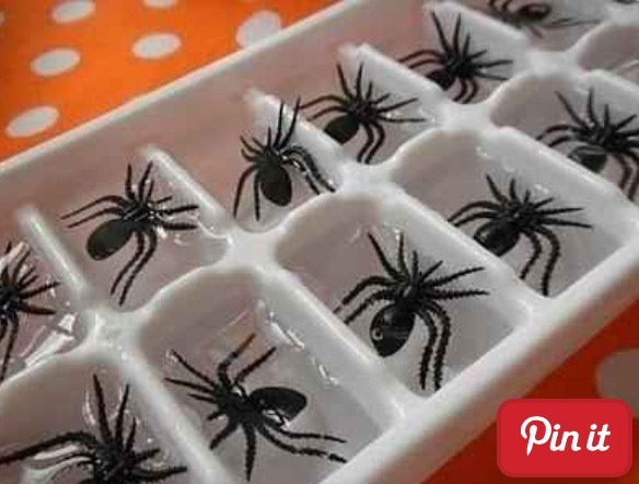Spider ice cubes!!;) use red food colour for bloody cubes!