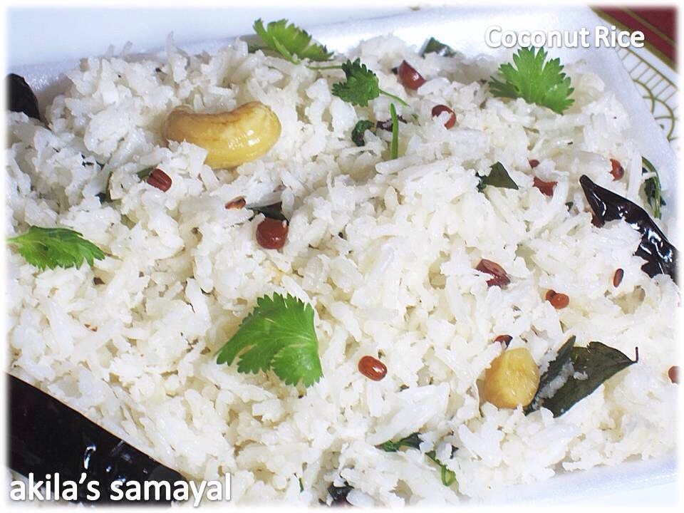 Coconut Rice is a traditional rice preparation of south India. Cooked/ steamed rice added with fresh grated coconut, curry leaves and some spices.