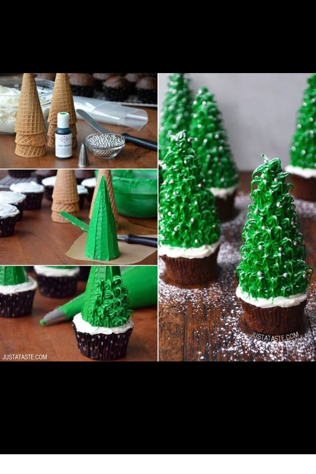 Sugar ice cream cone, mini brownie, green frosting, white frosting, powdered sugar(fallen snow effect), edible culinary beads.