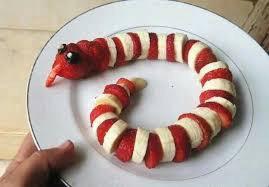Strawberry and banana snake looks delicious.