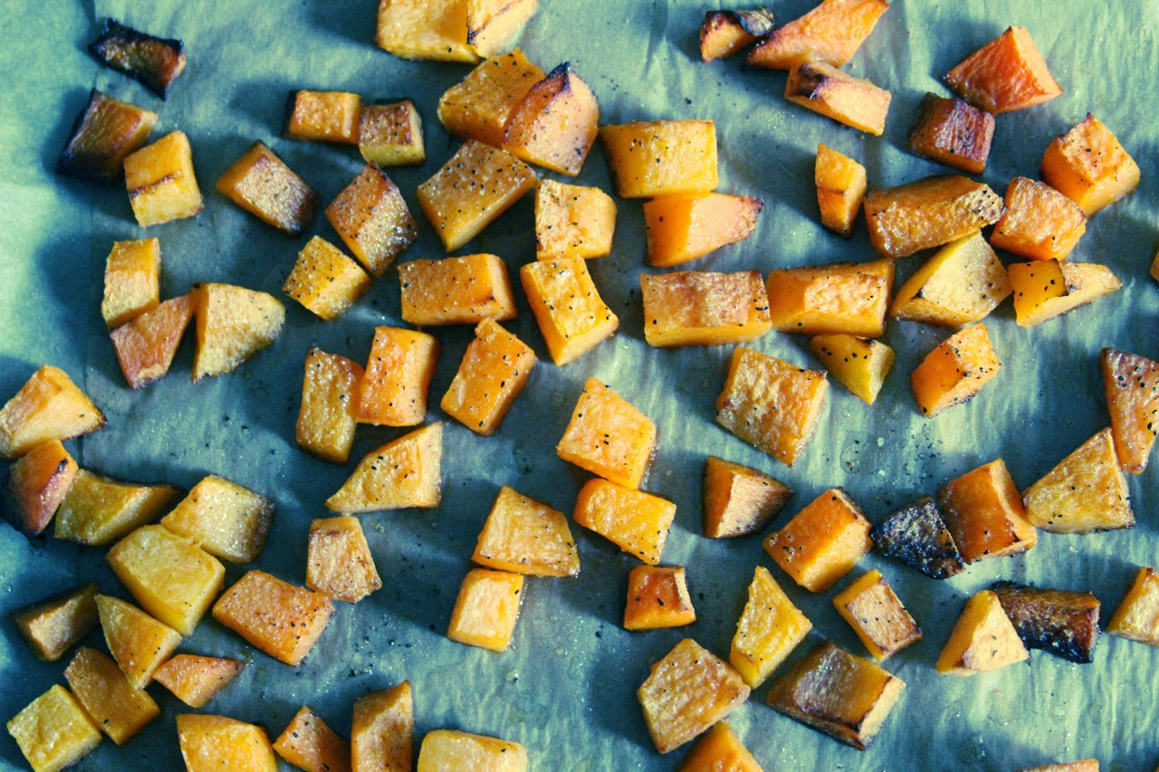 Cut the butternut squash into cubes then place in over for 45mins, then enjoy your tasty meal.