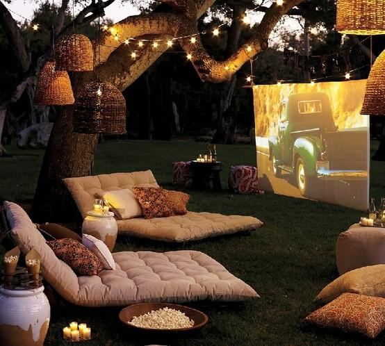 Outdoor Movie Area with DIY Projector