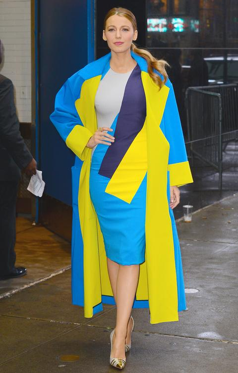 This vivid yellow isn't going anywhere! Blake Lively integrated the bold shade into a coat with a splash of Lilac Gray underneath. An easier alternative: Try the Buttercup hue paired with dark denim (Snorkel Blue) and tone it down with Serenity and Lilac Gray.