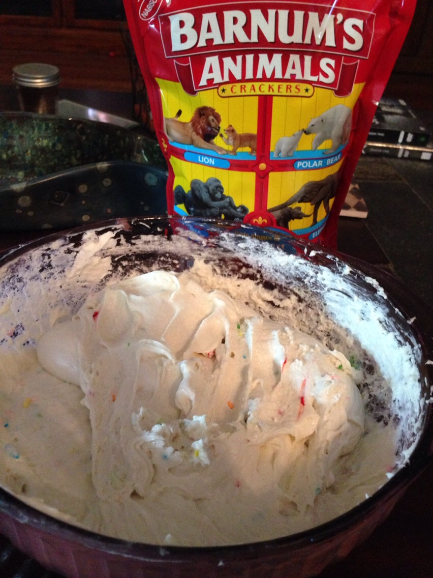 Mix together: 1 box Funfetti cake mix 2 cups plain yogurt 1/2 container of cool whip
