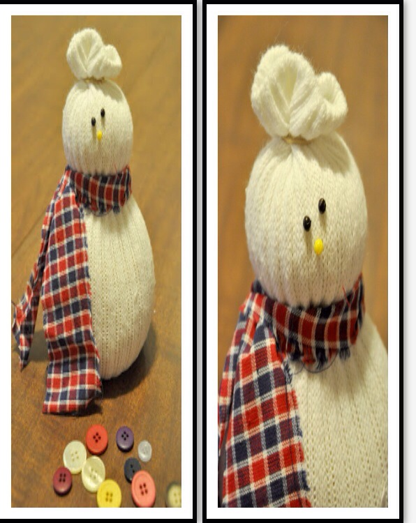 Now, decorate! Tie a scarf around your snowman's neck and add eyes, nose, and buttons. I used map pins for my eyes. Unfortunately, I didn't have any black ones, so I colored white ones with sharpie and stuck them in.