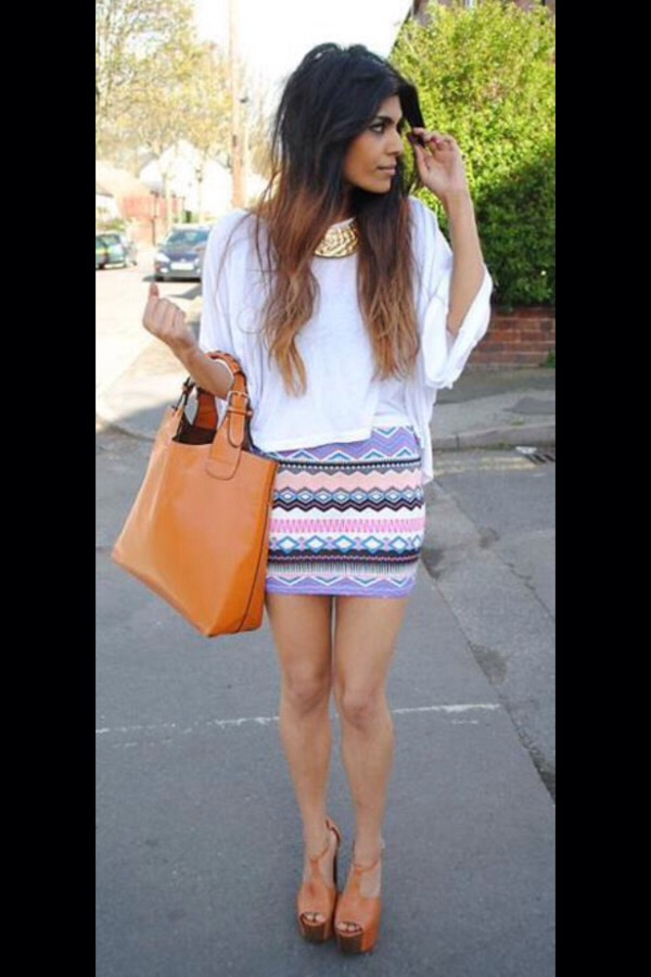 Loose or oversized shirts are so cute with skirts!