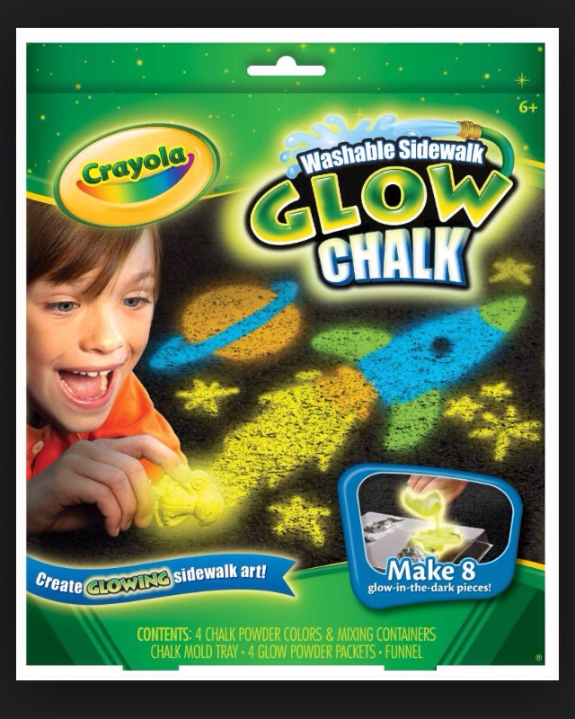 Glow in the dark chalk! Draw during the evening and watch it glow at night!!