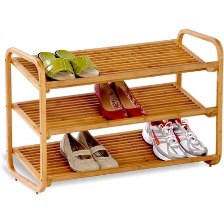 7. Use boxes, cubbies, tiered shelves (as above), or a hanging organiser to sort shoes.