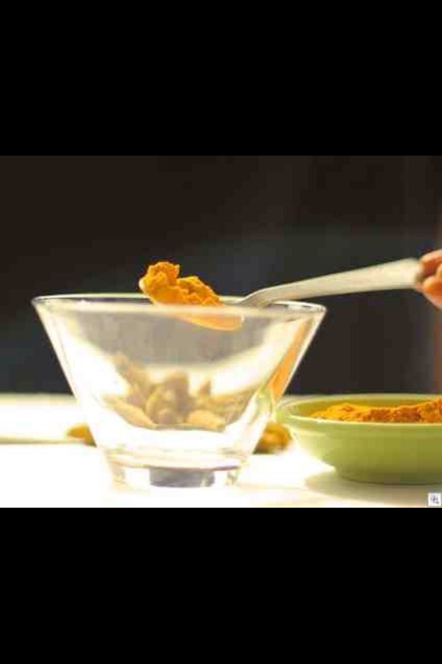 Steps:   Put one teaspoon of turmeric powder in a bowl.