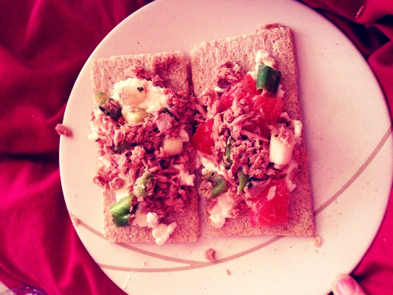 Crackers with cottage cheese topped with tuna mixed with lazy chilli corriander chopped spring onion and tomato! Delicious low fat high protein tasty snack!!