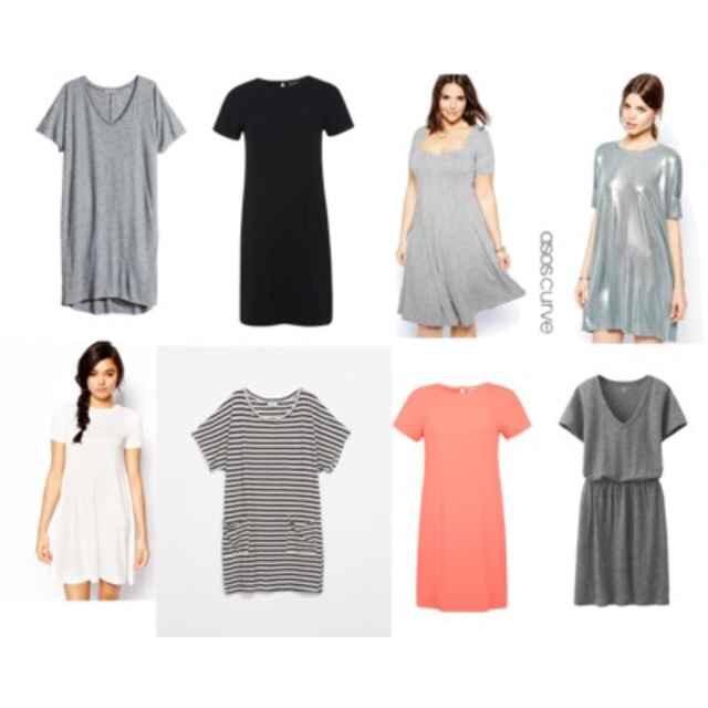 Clockwise from top left: H&M Jersey Dress$17; Miss Selfridge Plain Black T-shirt Dress$44; Asos Curve Skater Dress,$31; Asos Metallic T-shirt Dress$48; Uniqlo Women's Slub Dress,$30; Miss Selfridge Coral T-shirt Dress,$44;Zara Striped Dress,$30; Asos Swing dress,$31.
