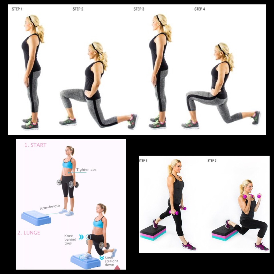 5. Lunges - stand with one foot on the step and place your other foot behind you so that your front knee is over your heel. Lower your body keeping your shoulders in line with your hips at least 12 times for each leg. Repeat on the other leg.