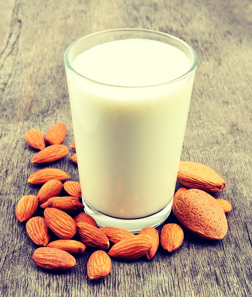 1 cup of almond (vanilla) optional milk in a blender