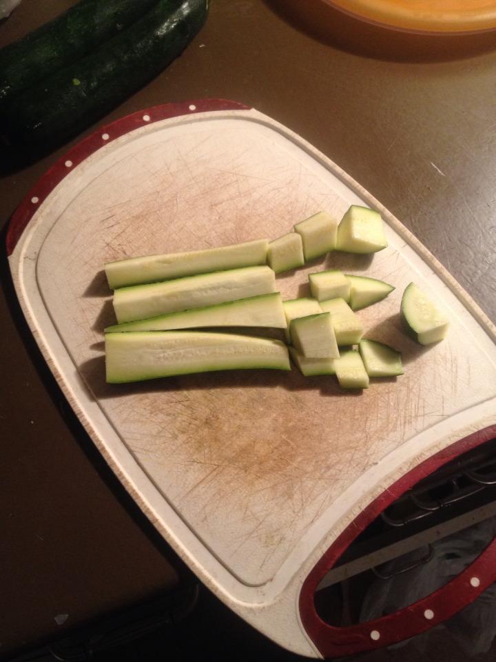- Cut zucchinnis in cubes