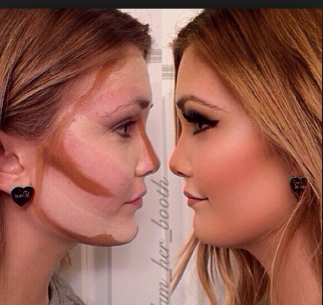 Now, get your bronzer, and outline the face, and draw a think line down your nose. And thick lines under Both cheek bones. And then BLEND BLEND BLEND. After blended on your cheek bones apply blush!