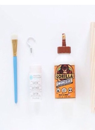 What you need: •Paint brush •Wood glue  •Satin to paint over the wood (optional) •Hooks (optional)