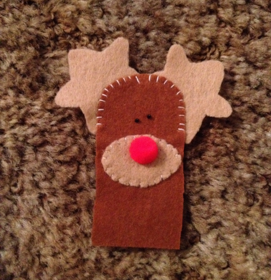 Glue on nose and use the puff paint to dot eyes. You can add a scarf or hat or any decorations you want :)