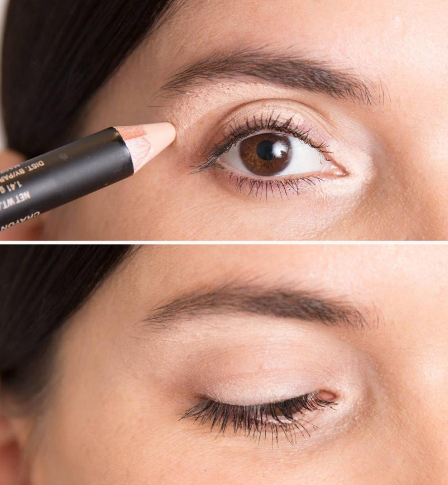 "7. Use a concealer that's slightly lighter than your skin tone to line three tiny sections of your eyes: the inner ""V,"" the middle section of your eyelid, and just below your brow bone."