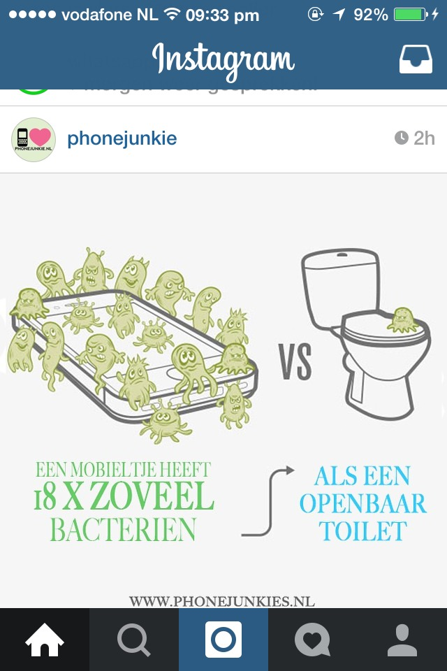 a mobile phone has 18 times more bacteria than a public toilet