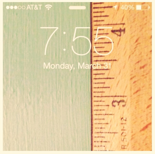 Ever need a ruler when you don't have one? Well this is just for you. Take a picture of your ruler (make sure it's taken at the right distance from your phone) and set it as your wallpaper. It'll be there whenever you need :)