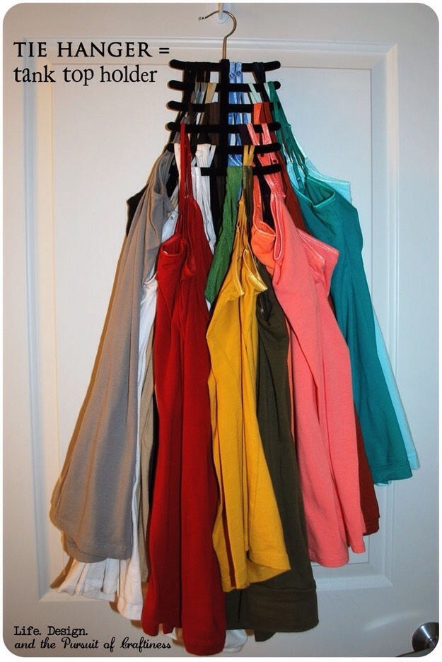 15. Don't let your tank tops take up all of your space. use a cheapo tie hanger to put them all in one spot.