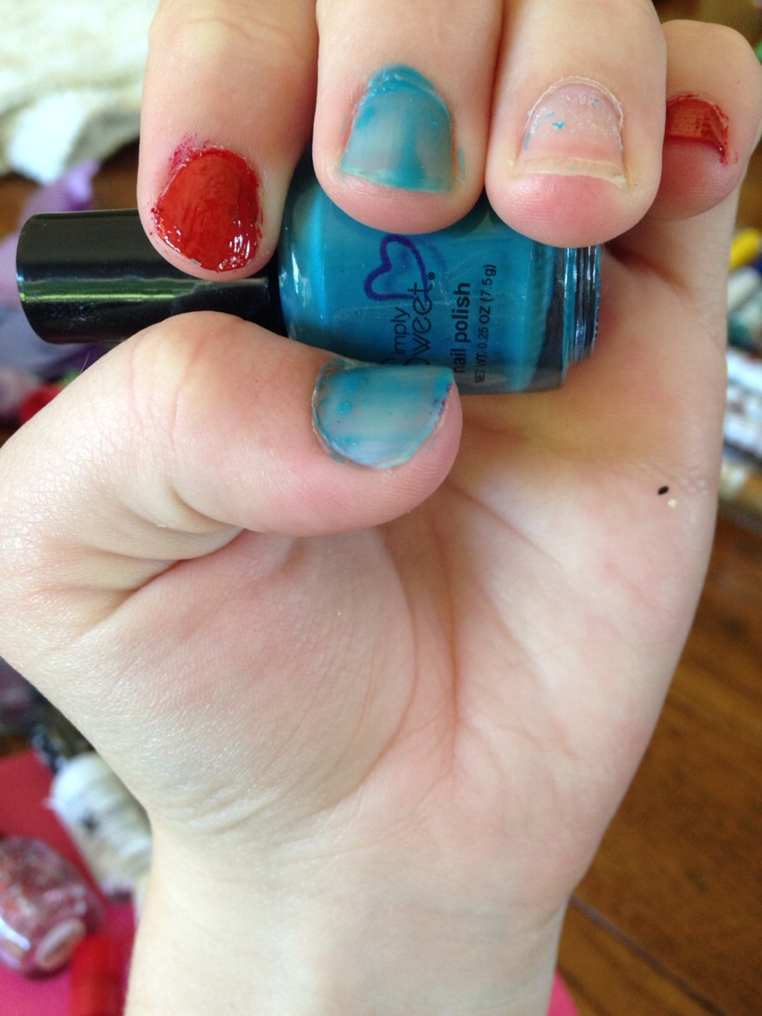 Paint these two nails blue.