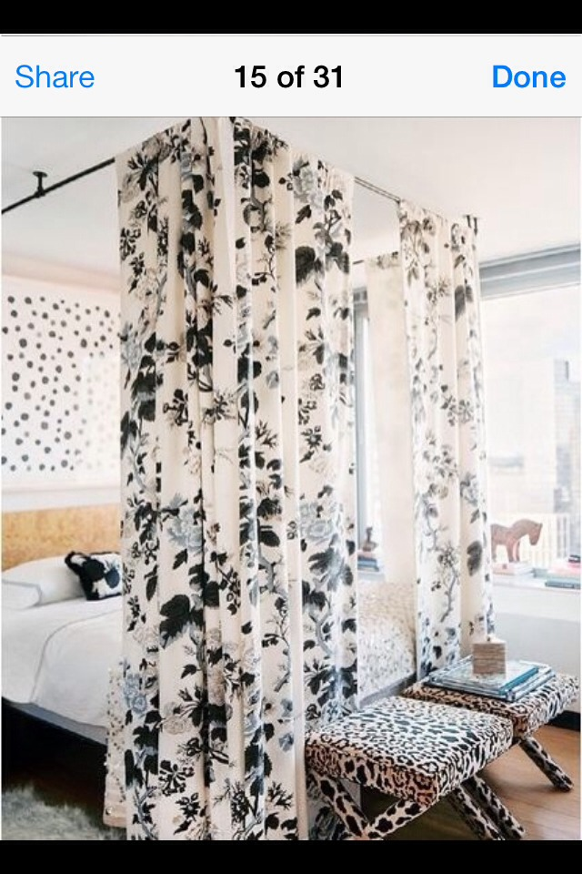 Drill curtain rods to the ceiling and simply hang. Gives you a bit of privacy