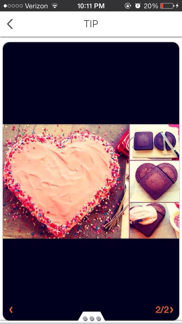 Simple way to make a cute heart cake.