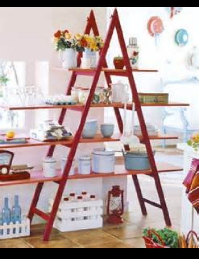 Use and old wooden ladder and paint it any color you want. Place a flat wooden board across each level and add your decoration, plates or anything else you want!