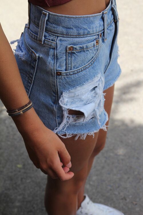 Distressed denim shorts are a classic summer staple in my opinion, and they're so easy to come by. You can even make your ownwith a pair of old jeans.