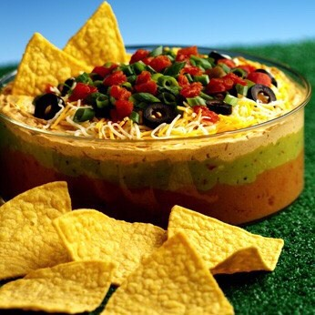Refried beans, sour cream, salsa , shredded cheddar and sliced olives just layer it up! And dip
