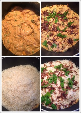 Now take a pan add chicken mixture first All pieces should touch the base for fully cooked. Next add fried onions, coriander and mint Then top it with half cooked rice and on top again add fried onions,coriander and mint leaves