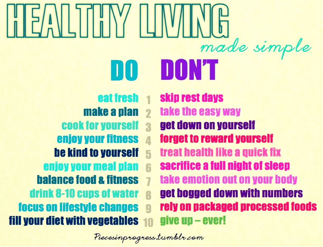 Do' sand don'ts for healthy living