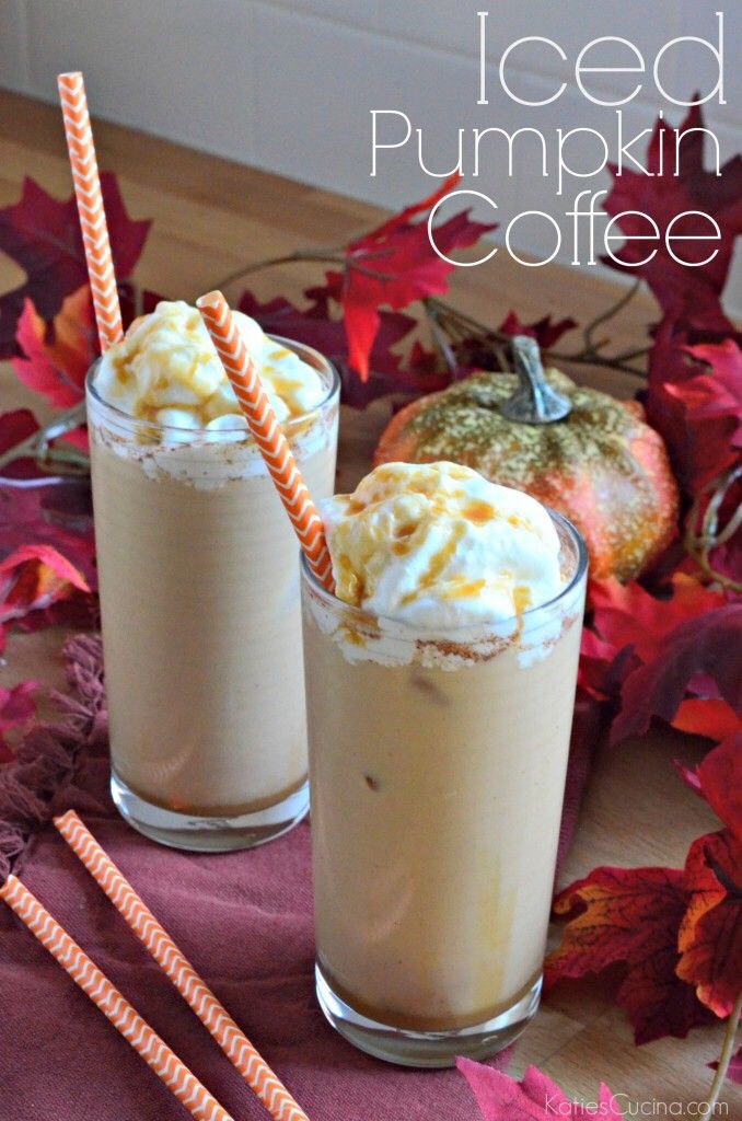 Ingredients: •16 oz freshly brewed coffee, chilled •1/4 cup half and half •1/4 cup powdered sugar •1/4 teaspoon pumpkin pie spice •pumpkin pie syrup •ice •whipped cream Directions: go to the website! Katie Original Recipe Read more at http://www.katiescucina.com/2014/10/iced-pumpkin-coffee/#g6r8vZLpWb3o2hsr.99
